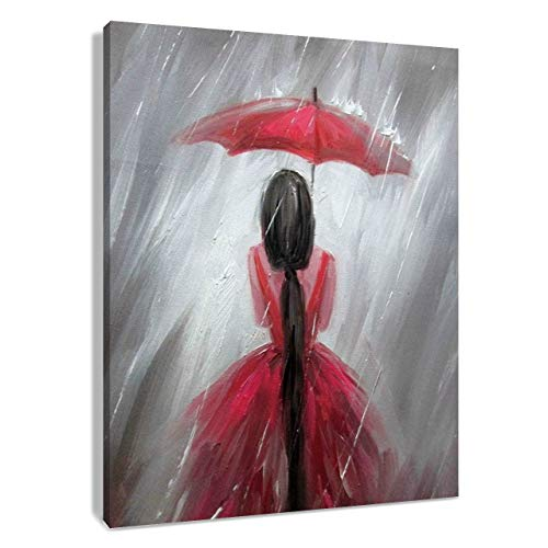 (HVEST Red Umbrella Canvas Wall Art-Elegant Girl Wear Beatiful Dress in Rain Artwork Black and White Painting for Living Room Bedroom Bathroom Decor,Stretched and Framed Ready to Hang,16x20 inches)