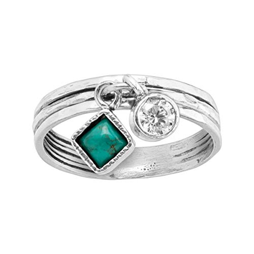 Silpada 'Dream in Blue-Green' Charm Ring with Compressed Turquoise & Cubic Zirconia in Sterling Silver