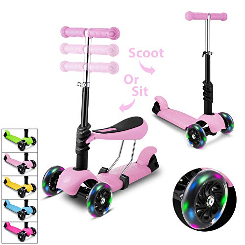 WeSkate Kids Scooters with Seat 3 Wheel Kick Scooter Adjustable Height Removable Adjustable Seat