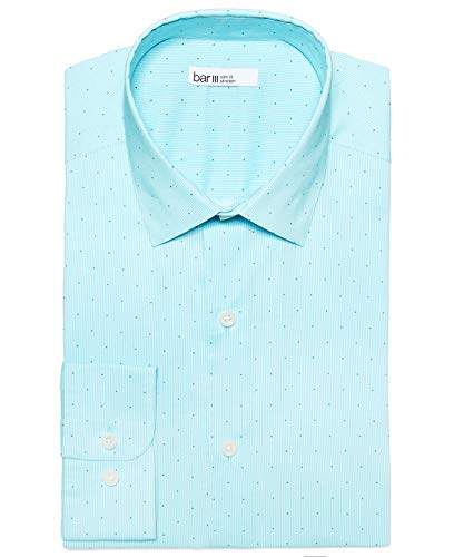 Bar III Men's Slim-Fit Printed Cotton Dress Shirt (Teal/Navy, Neck 16-16.5 Sleeve 34-35) from bar III
