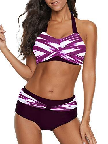 - Yanekop Womens Two Piece High Waisted Swimsuits Push Up Halter Bikini Striped Padded Bathing Suits(Purple,M)
