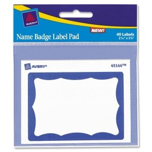 Avery Name Badge Label Pad - 3amp;quot; Width x 4amp;quot; Length - Removable - 40 / Pack - Blue