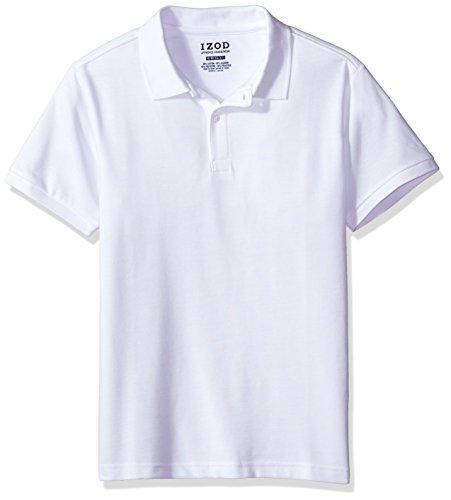 IZOD Uniform Young Men's Short Sleeve Pique Polo, White, X-Large (Polo Pique White)