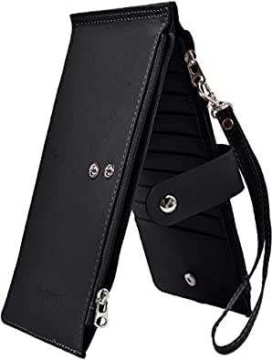 Yeeasy RFID Blocking Women's Leather Bifold Wallet Thin Zipper Card Holder Wallet Purse Black Size: Medium