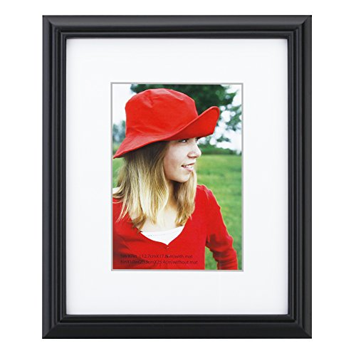 8x10 inch Picture Frame Made of Solid Wood and High Definition Glass Display Pictures 5x7 with Mat or 8x10 Without Mat for Wall Mounting Photo Frame Black