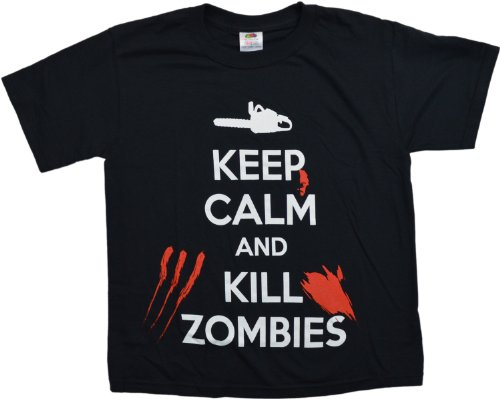 Keep Calm and Kill Zombies | Zombie Hunting Apocalypse Youth T-shirt-L(14-16)