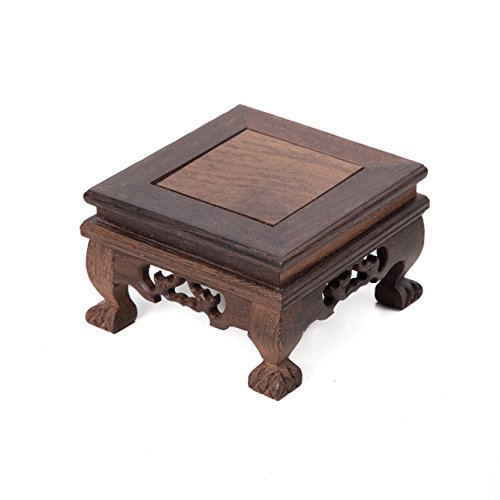 Oriental Furniture Chinese Display Stand Wooden Square Shape Tiger Feet Carved Solid Wooden Base Antique Stone Holder Square-12 (S 13.5cm13.5cm8cm)