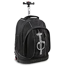 J World New York Twinkle Light Up Wheel Rolling Backpack, Black