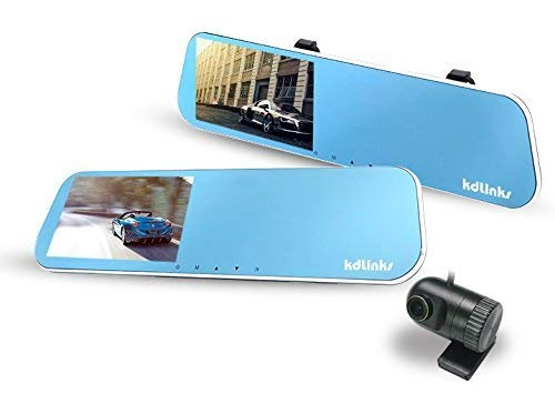 KDLINKS R100 Ultra HD 1296P Front + 1080P Rear 280° Wide Angle Anti-Glare Rearview Mirror Dual Lens Dash Cam with IPS 5'' Screen, Superior Night Mode, Advanced Dashcam Parking Mode, Support 64/128GB