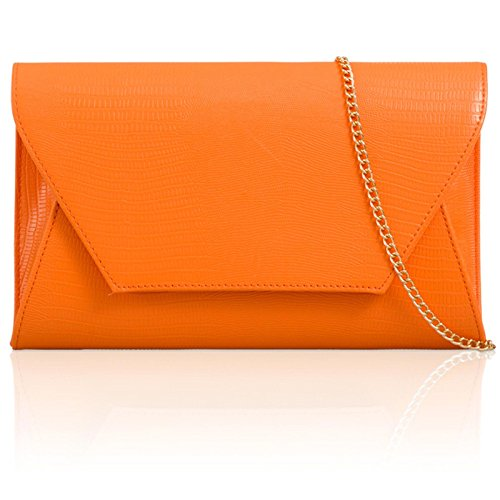 Print Bags London ladies Xardi Envelope Animal Leather UK Evening Croc Women Clutch Orange Prom Faux xFtt7aZ