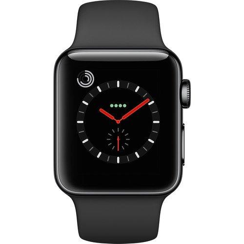 Apple Watch Series 3, 38MM, GPS + Cellular, Space Black Stainless Steel Case, Black Sport Band (Renewed) (Heart Apple 3g Iphone)
