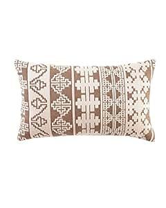 "ELAINE SMITH ""Ethnic Stitch"" Outdoor Lumbar Pillow - TAN/BROWN"