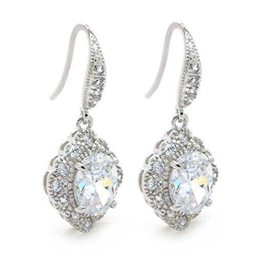 CZ Drop Dangle Earrings Hook Vintage Antique Deco Bridal Milgrain Women Fashion - Milgrain Dangle