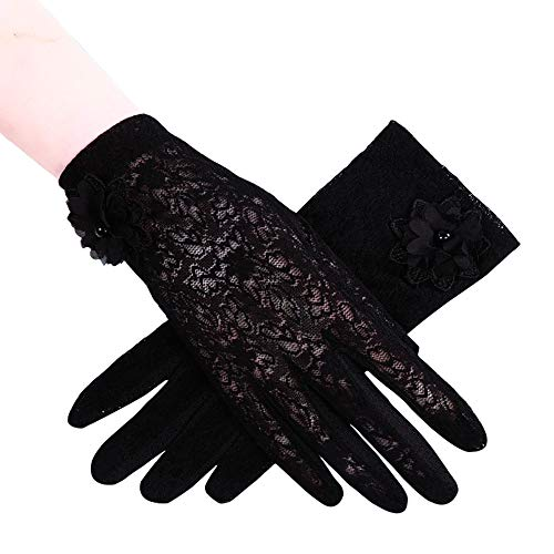 Stretch Lace Wrist Length Gloves - MoonEver Women's Short Elegant Lace Gloves Touch Screen No-Slip Summer Gloves, S2: Black, One Size