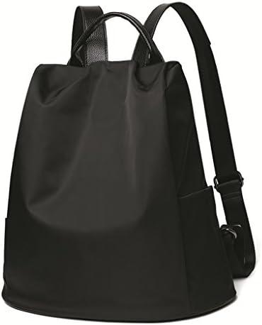 レディースミニバックパックオックスフォードファブリック防水性と着用可能な軽量大容量キャンバスバックパック(ブラック) (色 : A)
