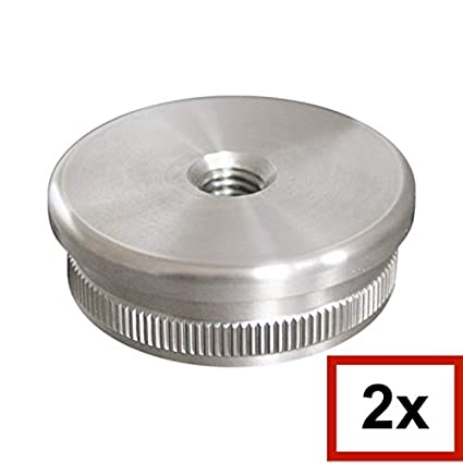 V2A Endkappe gewölbt mit M8 Gewinde vollmassiv für Rohr 33,7 x 2,0 mm