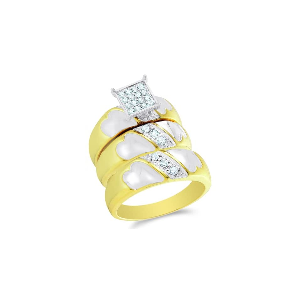 Size 6   10K Two Tone Gold Diamond Mens and Ladies Couple His & Hers Trio 3 Three Ring Bridal Matching Engagement Wedding Ring Band Set   Square Princess Shape Center Setting w/ Micro Pave Set Round Diamonds   (1/3 cttw)   SEE PRODUCT DESCRIPTION TO CHOO