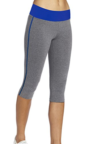 iLoveSIA Women's Tight Capri Workout 3/4 Legging US Size S Grey+Blue