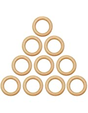 SUMAJU 10 Pieces Natural Wood Rings, 55mm Wooden Rings Circles Solid Wood Loop Teething Rings for DIY Projects Jewelry Craft Making