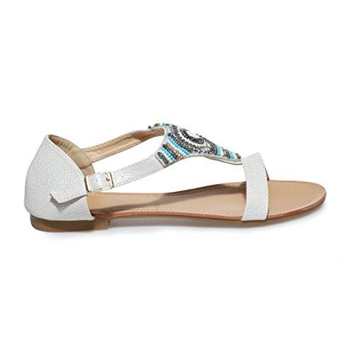 La Taille Blanc Grande Sandales Modeuse Plates YqrYP