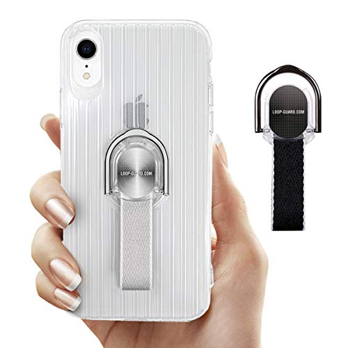 - LAVAVIK iPhone XR Case with Ring Stand Holder & Finger Strap, Crystal Clear Soft TPU Cover with Gray & Black Loop Grips for Apple iPhone XR, Work with Magnetic Mount & Wireless Charger