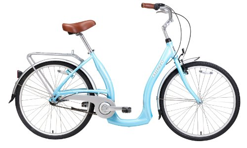 Biria Step Through 3-speed Shimano Nexus internal Hub, Aluminum, Light Blue , 15 Inch frame size Cruiser comfort German design Bicycle