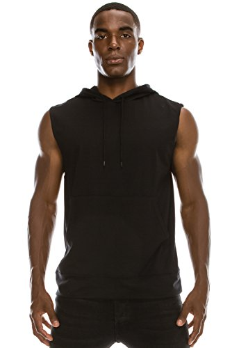 JC DISTRO Mens Hipster Hip Hop Active Lightweight Sleeveless Black Hoodie Large by JC DISTRO