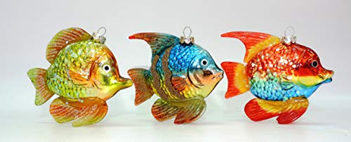 Doll Factory Set of 3 Tropical Fish Christmas Ornaments (Christmas Ornaments Fish Tropical)