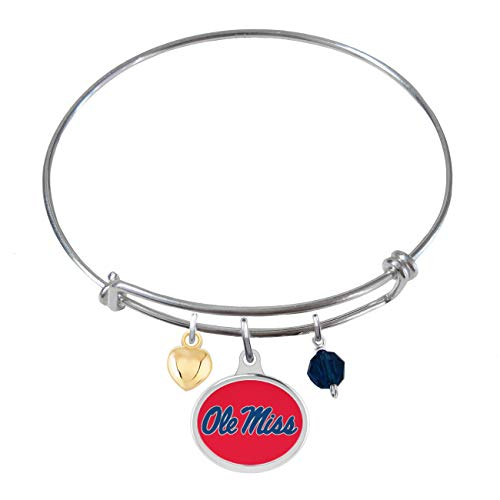 College Jewelry University of Mississippi Ole Miss Rebels Sterling Silver Adjustable Bangle Bracelet with Enamel Charm ()