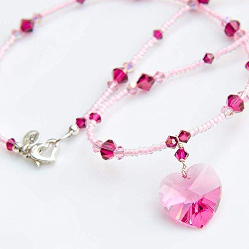 Pink Heart Pendant Necklace with Swarovski Crystals and Sterling Silver Heart Clasp