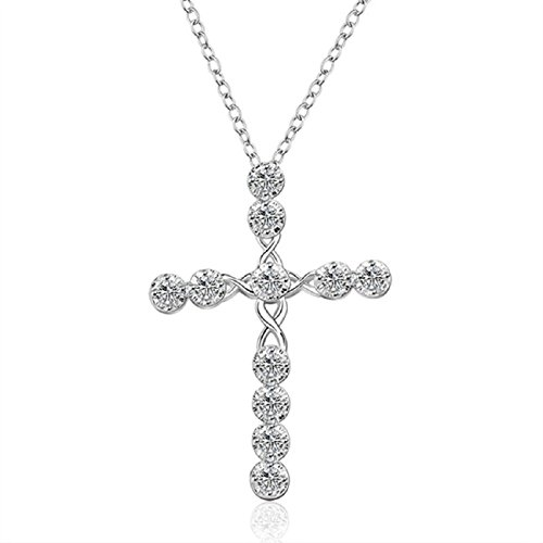 Tonsee Personality Luxury Women Silver Crystal Rhinestone Cross Necklace Statement Chain