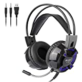 Fancy96 Kubite Wired Surround Sound Gaming Headphones Memory-Protein Earmuffs with Microphone (Black)
