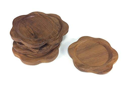 - Coasters Wood Flower Shape Saucers Drink Handmade Teak Wood Holders Dispensers Cup Holder 6 Pieces