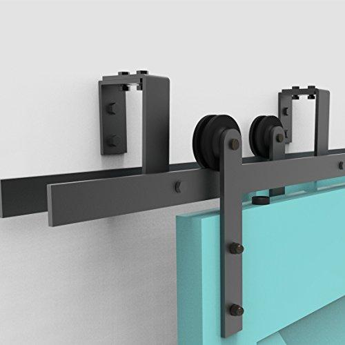 Vancleef 4-20FT Bypass Door Kit Sliding Barn Door Hardware, 8FT Track Straight Design, New Style U-Bracket, Black Rustic, Interior and Exterior Use, Descriptive Installation Manual Included