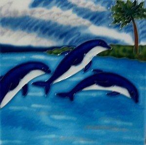J Dolphin Ceramic Wall Art Decoratve Tile 4x4 Coaster