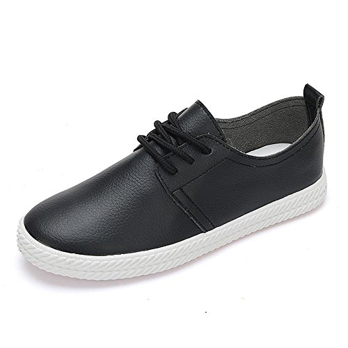 best service 229da 9261c NS Bas de femmes Bas Flat Top lacets en toile en cuir souple Chaussures  Casual Flats