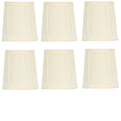 Upgradelights 4 Inch Pleated Retro Drum Chandelier Lamp Shades in Eggshell (set of six) 3x4x4