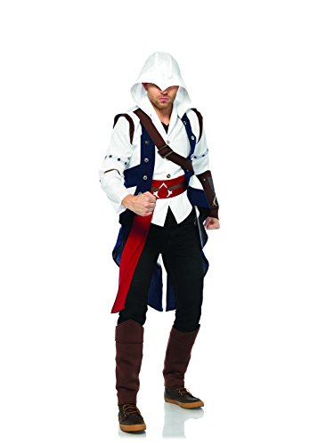 Leg Avenue Men's Assassins Creed Connor Standard Costume, White/Blue, Small (Assassin Halloween Costumes)