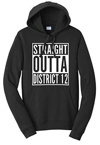 Tenacitee Unisex Straight Outta District 12 Sweatshirt Hoodie, X-Large, Black -