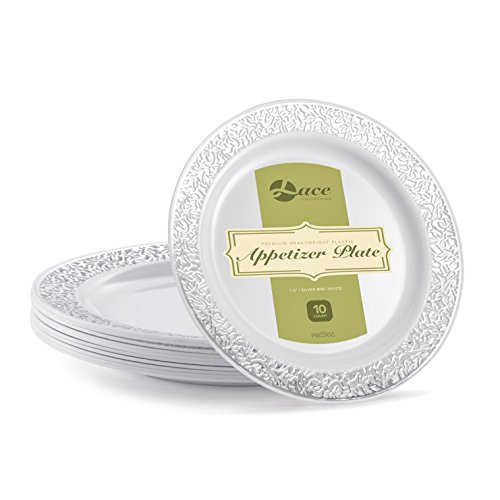 LACE PLASTIC PARTY DISPOSABLE PLATES | 7.5 Inch Hard Round Wedding Appetizer Plates | White with Silver Rim, 40 Pack | Elegant & Fancy Heavy Duty Party Supplies Plates for Holidays & Occasions