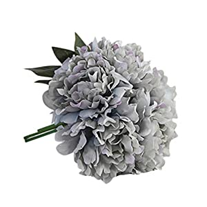 Whitegeese Artificial Flowers Peony Silk Flowers Wedding Bouquet Party Home Décor Flower Arranging Table Flower (Gray) 27