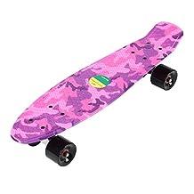 22 Inches Four-wheel Long Kick-tail Skateboard Mini Cruiser Pink Fish Banana Board