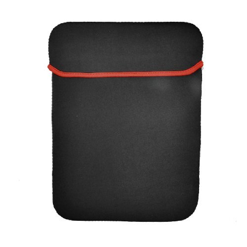 DealMux 14 Widescreen Leptop Bag Vertical Neoprene Notebook Case Black Red (Notebook Widescreen Bag)