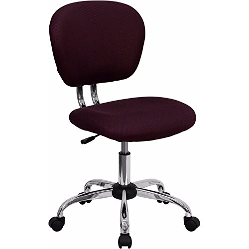 Offex Mid Back Burgundy Mesh Task Chair with Chrome Base
