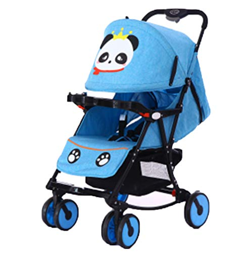 DYFAR Fashion Four Seasons prams fold High Landscape Toddlers Baby pushchairs Bidirectional Newborn Strollers Suitable for Children 0-3 Years Old, Blue
