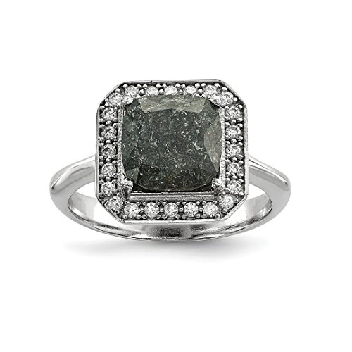 925 Sterling Silver Dark Gray Ice Cubic Zirconia Cz Band Ring Size 6.00 Fine Jewelry Gifts For Women For Her ()