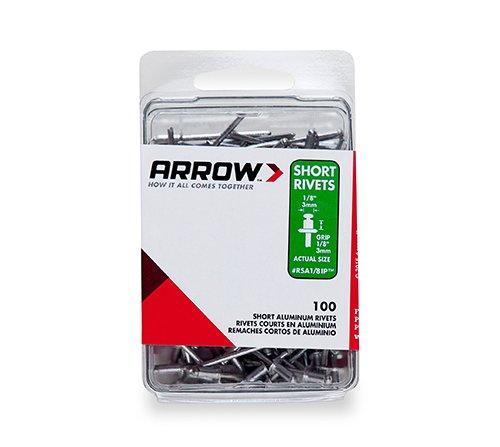 8IP Short Aluminum 1/8-Inch Rivets, 100-Pack (Arrow Rivet Tool)