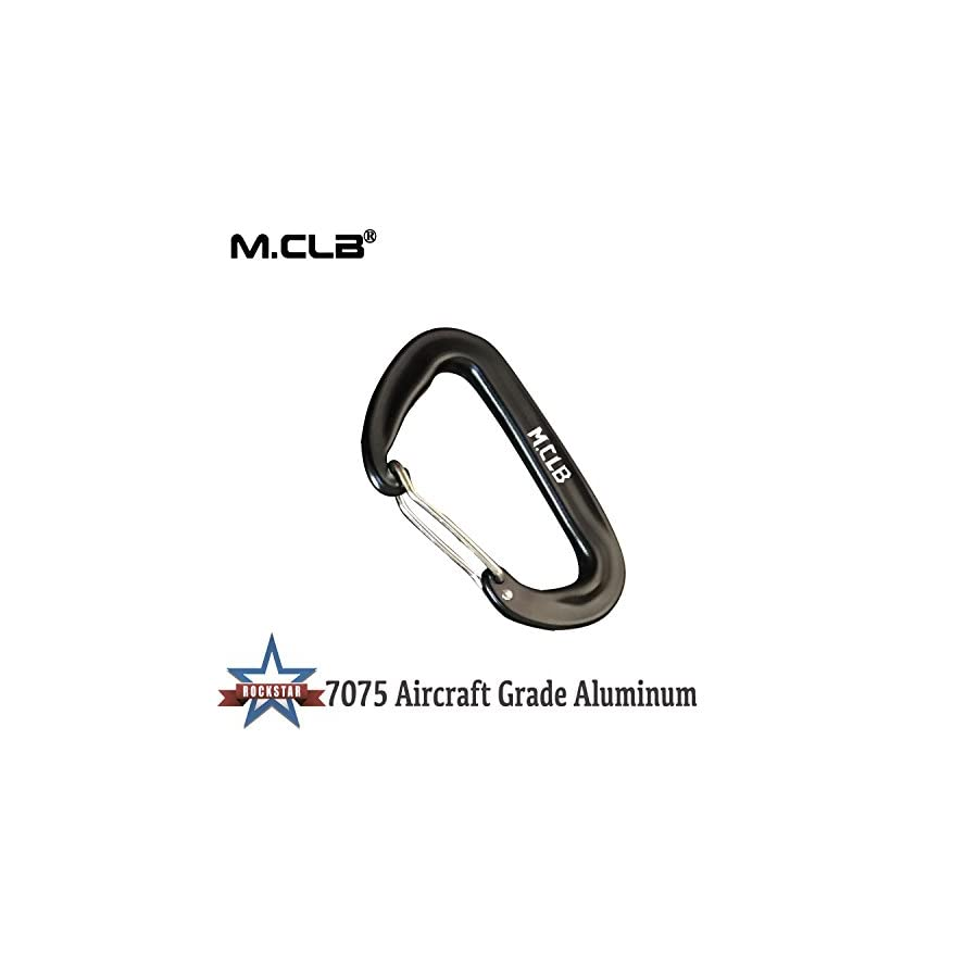 M.CLB Hevesy Duty Carabiner 12KN Locking Carabiner Keychains Clips Aluminum Lock Hooks for Hammocks,Yoga Swings,Rocking Black 5 Pack