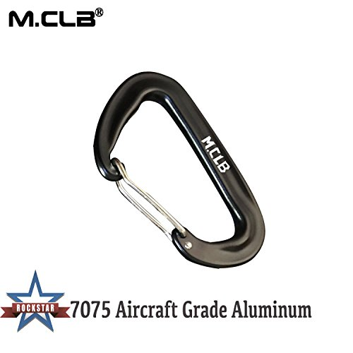 12KN Carabiner Clip Locking Carabiner Keychains Aluminum Lock Hooks for Hammocks,Yoga Swings,Rocking Black 5 Pack
