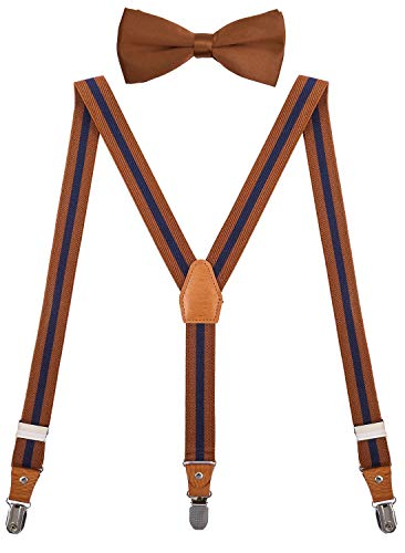 SUNNYTREE Baby Boys Suspenders Bow Tie Set Classic Y Shape Adjustable 24 inches Brown Stripe